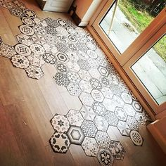 If your looking to create a statement floor then these Hexagon tiles really could be the answer.Perfect for a vintage bathroom, kitchen or hallway they come in a random selection of designs per box. Think outside the box and use as a wall tile for a Floor Patterns, Tile Patterns, Wood Tile Pattern, Kitchen Tiles, Kitchen Flooring, Kitchen Wood, Room Tiles, Hallway Flooring, Kitchen Decor