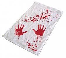 Blood Bath Towel Puts a Crime scene in your bathroom MINUS the Cops and Bleach!