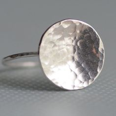Sterling Silver Rings Hammered Disk Ring by figgylanejewelry, $28.00