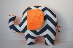 Chevron elephant pillow, navy blue orange chevron, modern boys nursery decor, baby shower gift on Etsy, $32.00