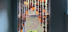 A wooden beaded curtain