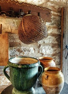 Old basket and pots.