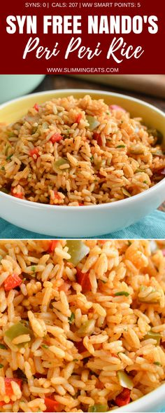 Slimming Try out my Authentic Syn Free One Pot Nando's Peri Peri Rice made using the freshest of ingredients to make it the perfect side for your Nando's Fakeaway meal. Gluten Free Dairy Free, Vegetarian, Slimming World and Weight Watchers friendly Slimming World Vegetarian Recipes, Vegan Slimming World, Slimming World Dinners, Slimming Eats, Vegetarian Cooking, Slimming World Lunches Work, Slimming Recipes, Slimming World Eating Out, Slimming World Chilli