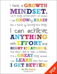 Get your own growth mindset poster for kids from Big Life Journal. A perfect way to motivate kids and help them develop a growth mindset. Growth Mindset For Kids, Growth Mindset Posters, Growth Mindset Classroom, Growth Mindset Activities, Growth Mindset Display, What Is Growth Mindset, Growth Mindset Lessons, Gifted Education, Education Quotes