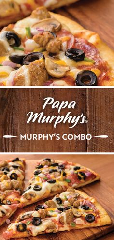 Bake it up with the Murphy's Combo, loaded with Italian toppings, like delicious sausage, salami and olives all baked perfectly on a handmade crust. Menu Items, Olives, Sausage, Baking, Breakfast, Handmade, Food, Morning Coffee, Hand Made