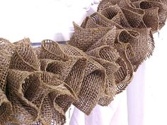 Decor - Holiday Christmas - Rustic Prairie Hand Made Natural Brown Ruffle Burlap Garland. $30.00, via Etsy.