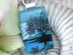 Tree Necklace  Dichroic Fused Glass Jewelry  by ccvalenzo on Etsy, $28.00