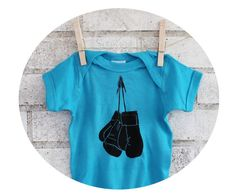 Boxing Glove Baby Onepiece Hand Printed Baby by CausticThreads, $18.00