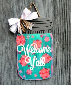 39 Ideas Wooden Door Decorations Mason Jars For 2019 Wooden Door Signs, Wooden Door Hangers, Wooden Doors, Wood Signs, Mason Jar Crafts, Mason Jar Diy, Wooden Cutouts, Diy Cutting Board, Painted Doors