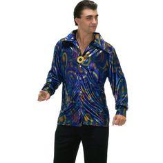 Forum Novelties Men's 70's Disco Dynamite Dude Costume Shirt  Purple/Gold/Blue  Standard
