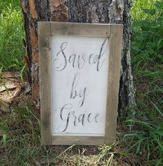 Distressed and vintage look Saved by Grace wood trimmed sign/living room decor/kitchen/dining room wall hanging by ATouchofChic on Etsy
