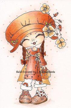 Ooak HAND COLOURED Sherri Baldy CARD TOPPER *NEW Peach/Cardmaking/Embellishment