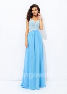 Straps Zipper Appliques Sleeveless Blue Floor Length Chiffon A-line Evening / Prom Dresses