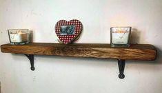 kitchen shelf with cast iron gallow brackets / solid oak shelf / ( ) / alcove shelves / shelves / oak shelves Shelf Styling, Modern Shelving, Kitchen Shelves, Solid Oak, Mantle Piece, Floating Shelves, French Oak, Home Decor, Oak Shelves