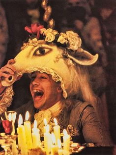 Tom Hulce as Wolfgang Amadeus Mozart in Amadeus is a 1984. Directed by Miloš Forman, written by Peter Shaffer.  Academy Awards (1985 - Won Best Actor in a Leading Role (F. Murray Abraham). Best Adapted Screenplay (Peter Shaffer). Best Art Direction (Karel Černý and Patrizia von Brandenstein). Best Costume Design (Theodor Pištěk). Best Picture (producer, Saul Zaentz). Best Director (Miloš Forman). Best Makeup. Best Sound Mixing.