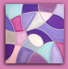 Purple and Pink Original Abstract Acrylic Painting by orabirenbaum, $225.00