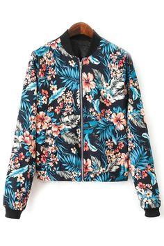 Textured Floral Bomber Jacket