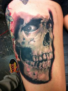 Damon Conklin, Super Genius Tattoo, Seattle WA, skull, horror tattoo