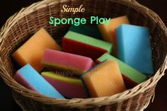 playing with sponges - happy hooligans - coloured sponges for play colored sponges make great loose parts.add them to the block center or light table for building, or take them outside to play with water Baby Room Activities, Infant Activities, Preschool Activities, Preschool Curriculum, Kindergarten, Toddler Play, Baby Play, Preschool Block Area, Montessori