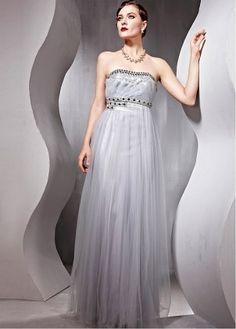 Elegant Sequin Net & Chiffon & Satin Empire Strapless Beaded Grey Prom Dress P2434