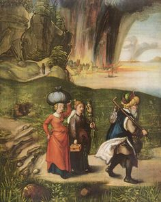 Albrecht Dürer.  Loths Flucht. Um 1496, Holz, 50,2 × 39,7 cm. Washington (D.C.), National Gallery of Art. Deutschland. Renaissance.  KO 02840