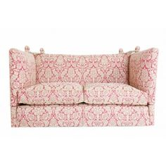 In an elegant soft pink with smart gold piping, this antique sofa dates back to the and is based on an early Century couch at Knole in Kent. Upholstered Furniture, Furniture Decor, Furniture Design, Antique Sofa, Vintage Sofa, Knole Sofa, Sofa Bed, Couch, Bespoke Furniture