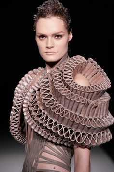 Sculptural Fashion - dimensional tiered leather pattern construct; wearable art // Crystallization collection, Iris van Herpen