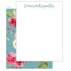 Blue Floral Bunch Flat Note Cards