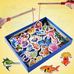 35pcs/lot Wooden Magnetic Fishing Toy Set For Kids Fish Model 2 Rods Play Funny Games Outdoor Toys