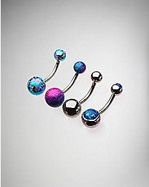 Colored Cz Barbell Belly Ring 4 Pack - 14 Gauge