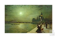 Reflections on the Thames, Westminster, 1880 Giclee Print by John Atkinson Grimshaw at Art.com