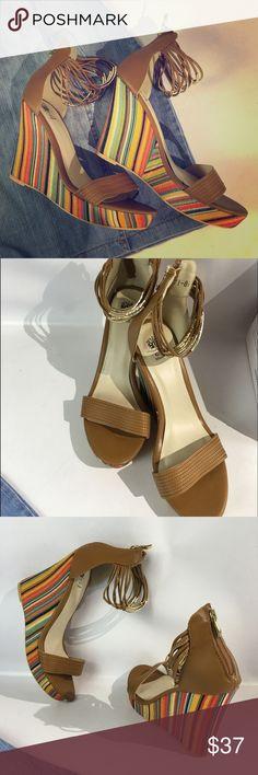 NIB My GC Shoes, multi color platform wedges Elastic ankle bands with metal accents, multi color, back zip , comfortable platform wedges . Box included My GC shoes Shoes Wedges