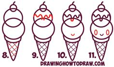 ice cream draw drawing cone kawaii sundae easy drawings face step simple beginners steps dessert tutorial drawinghowtodraw learn cones tutorials