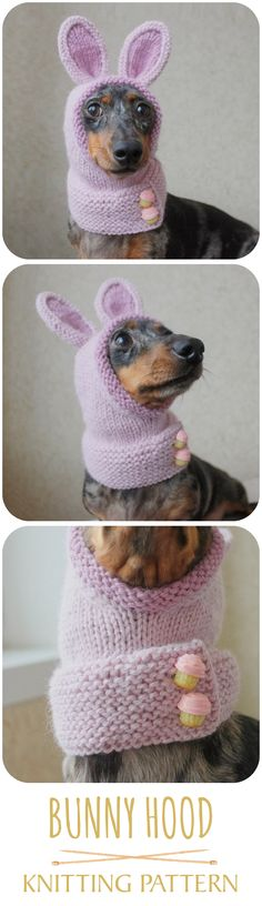 Easy knitting pattern, available on Etsy and Ravelry. #bunny #easterbunny #bunnyears #dachshund #knittingpattern