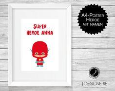 Kinderzimmerdekoration - A4 KUNSTDRUCK mit NAMEN ♥ SUPERHEROE ♥  - ein Designerstück von J-Designerie bei DaWanda