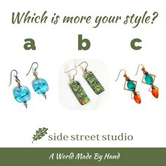 Which is more your style? Comment below: a, b or c! (Hand made jewellery by B.C. artists) #Earrings