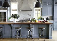 Blue Grey Cabinets, Huge Center Island, Large Pendant Lights