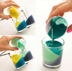 Make your own color block candles