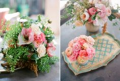 oh how I love peach and pink! Maiden Hair Fern with Candy Pink Striped Amaryllis, coral ranunculus, Juilet Garden Rose