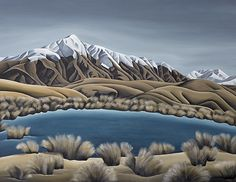 Mountain Tarn by Christchurch artist, Diana Adams. Art-prints on canvas or paper available from www.imagevault.co.nz