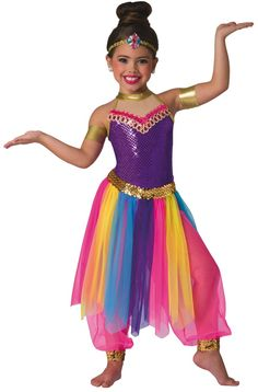 Colorful dance recital and competition costumes that inspire and perform since We promise fresh designs, speedy delivery and consistent fit. Arabian Nights Costume, Aladdin Costume, Kids Genie Costume, Cute Dance Costumes, Dance Recital, Maquillage Halloween, Girl Dancing, Halloween Costumes For Kids, Dance Outfits