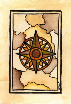 Cartographic Art  A Sense of Direction Compass Rose by paintandink, $50.00