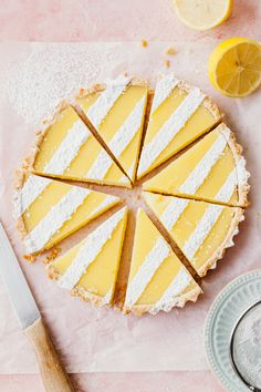 Lemon bars dressed up as a pretty, easy lemon tart! The same classic recipe but this easy lemon tart is baked in a round tin and decorated with simple sugar stripes. Easily make the stripes by using strips of parchment paper. Pie Recipes, Sweet Recipes, Dessert Recipes, Easy Tart Recipes, Lasagna Recipes, Retro Recipes, Broccoli Recipes, Tofu Recipes, Noodle Recipes