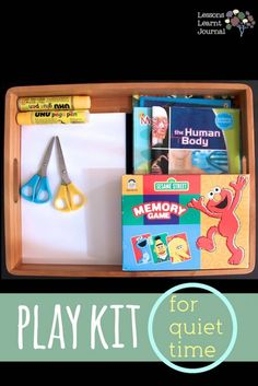 Play kit for quiet time - quick and easy ways to work and play with kids quietly. Toddler Fun, Toddler Preschool, Quiet Time Activities, Busy Boxes, Kids Corner, Business For Kids, Lessons Learned, Fun Learning, Kids And Parenting
