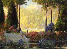 Tom Mostyn (1864-1930) The Garden of the Castle (sd). Pittore romantico dell'epoca vittoriana specializzato in paesaggi di giardini.