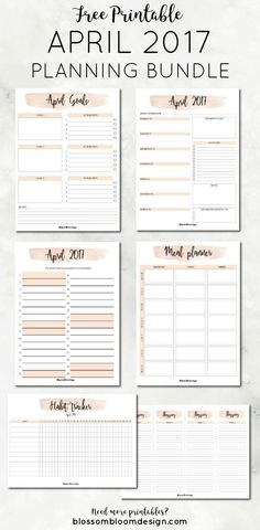 Free Printable April 2017 Planner Bundle.  You will get a monthly planner, weekly planners, habit tracker, goal planner, meal planner and shopping lists. {newsletter subscription required}