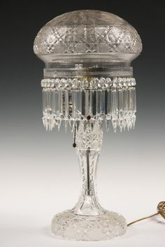 Cut Crystal Piano Lamp with classic mushroom shade #ukauctioneers