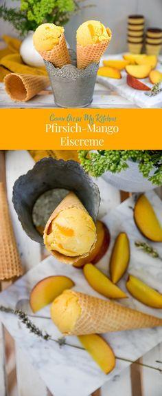 Pfirsich liebt Mango und dabei entsteht eine super cremige und fruchtige Pfirsich-Mango-Eiscreme. Ein perfektes Dessert und Erfrischung pur!