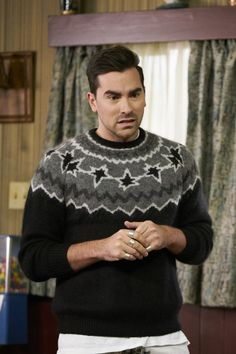 Looking back on David Rose's best sweaters on Schitt's Creek through the seasons, many of which Dan Levy scored from consignment shops himself. Rose Sweater, Men Sweater, David Rose, Daniel Levy, Drop Crotch Pants, Schitts Creek, Rose Family, Power Dressing, Consignment Shops