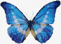 Blue butterfly cross stitch pattern.
